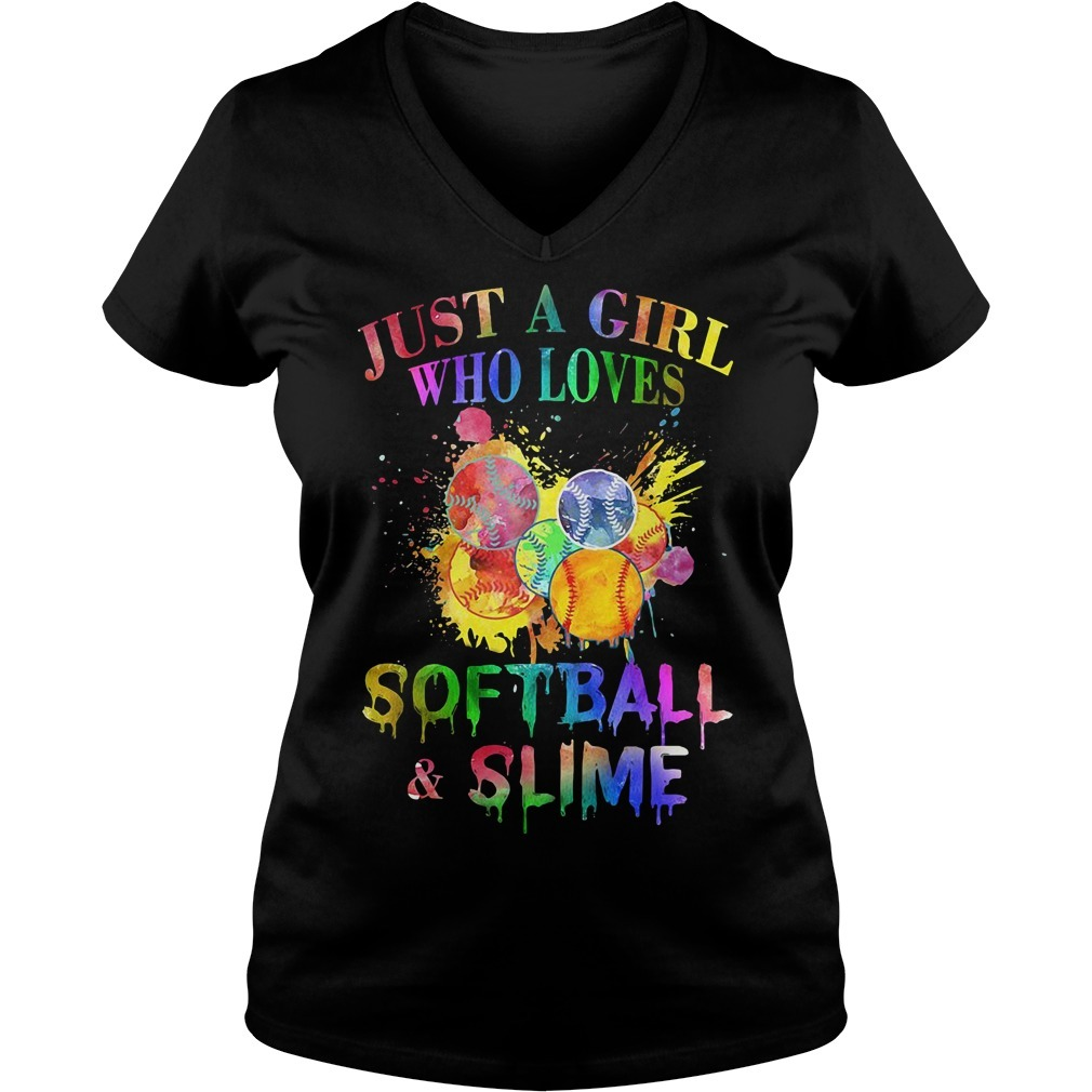 Just a girl who loves softball and slime V-neck T-shirt