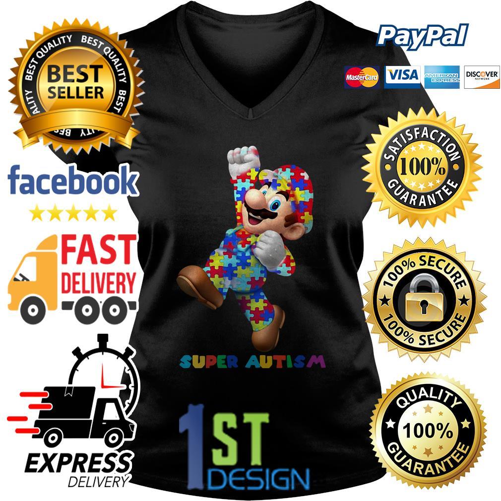 Mario super autism V-neck T-shirt