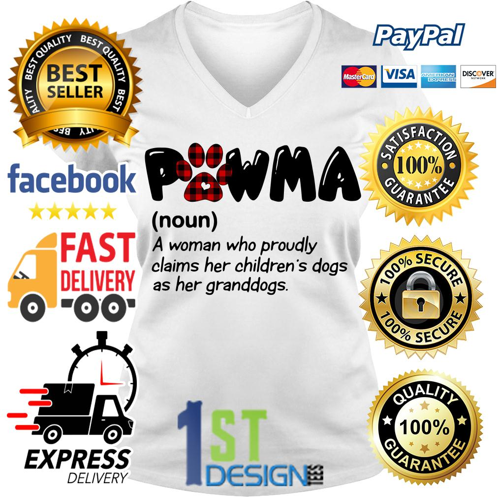 Pawma definition a woman who proudly claims her children's dogs V-neck T-shirt