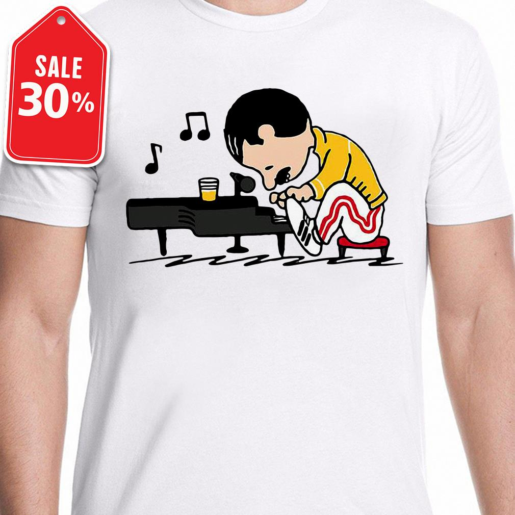 Queenuts Queen's Freddie Mercury in the style of peanuts Guys shirt