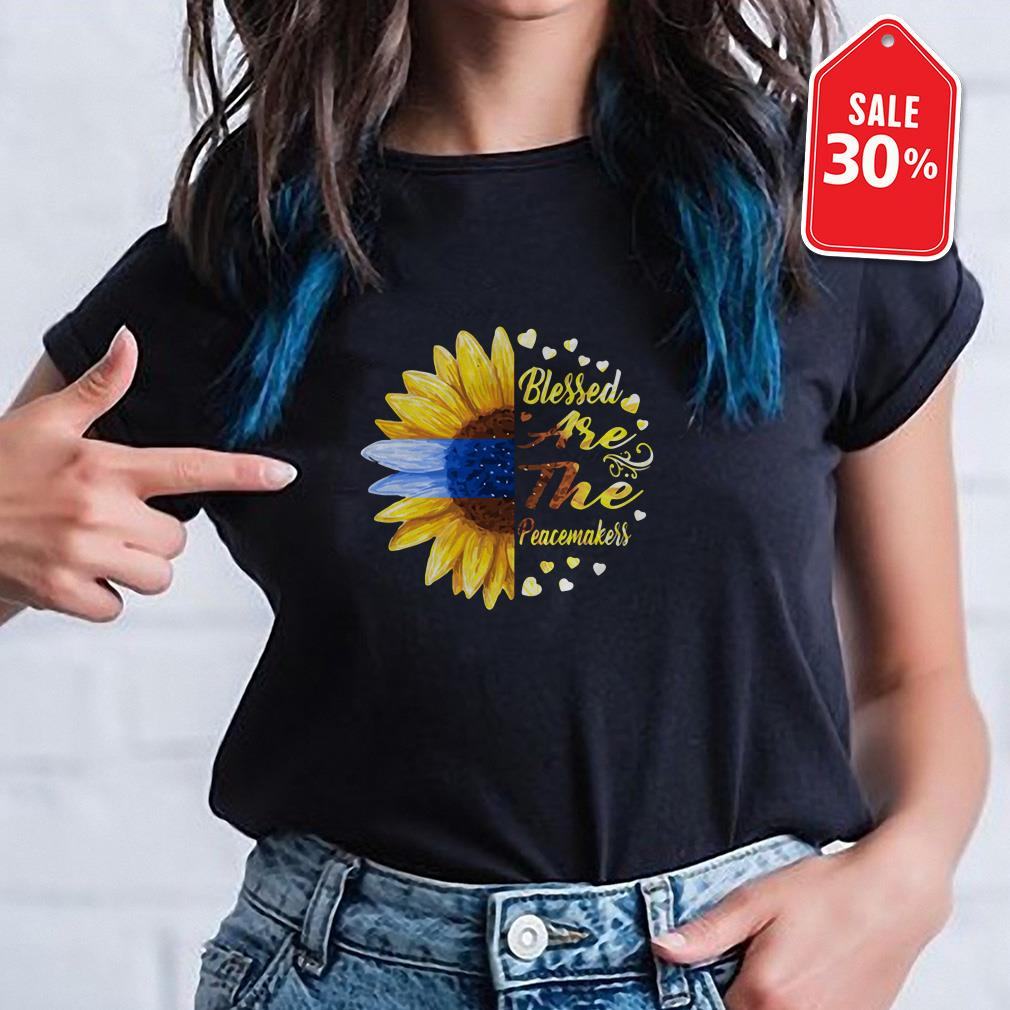 Sunflower blessed are the peacemakers Guys shirt