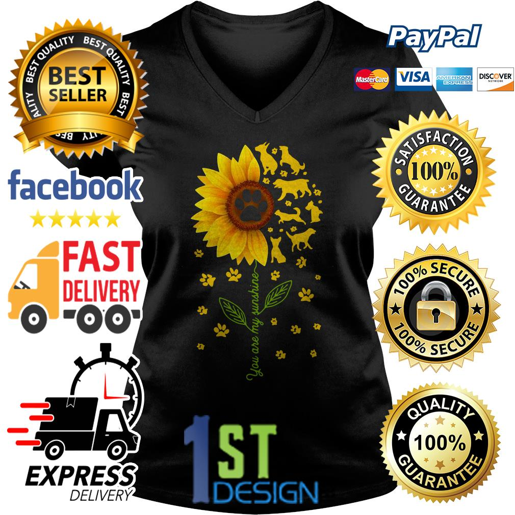 Sunflower dog you are my sunshine V-neck T-shirt