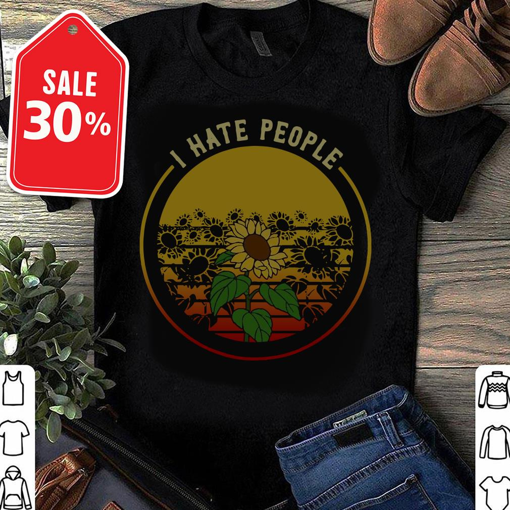 Sunflower I hate people retro Guys shirt