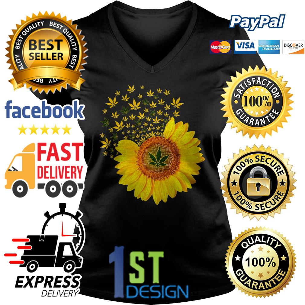 Sunflower weed smoke V-neck T-shirt