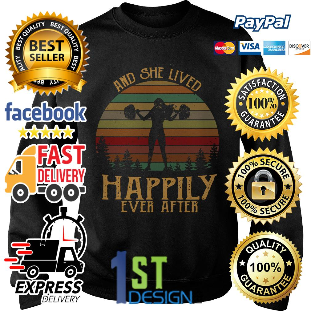 Weightlifting and she lived happily ever after vintage Sweater