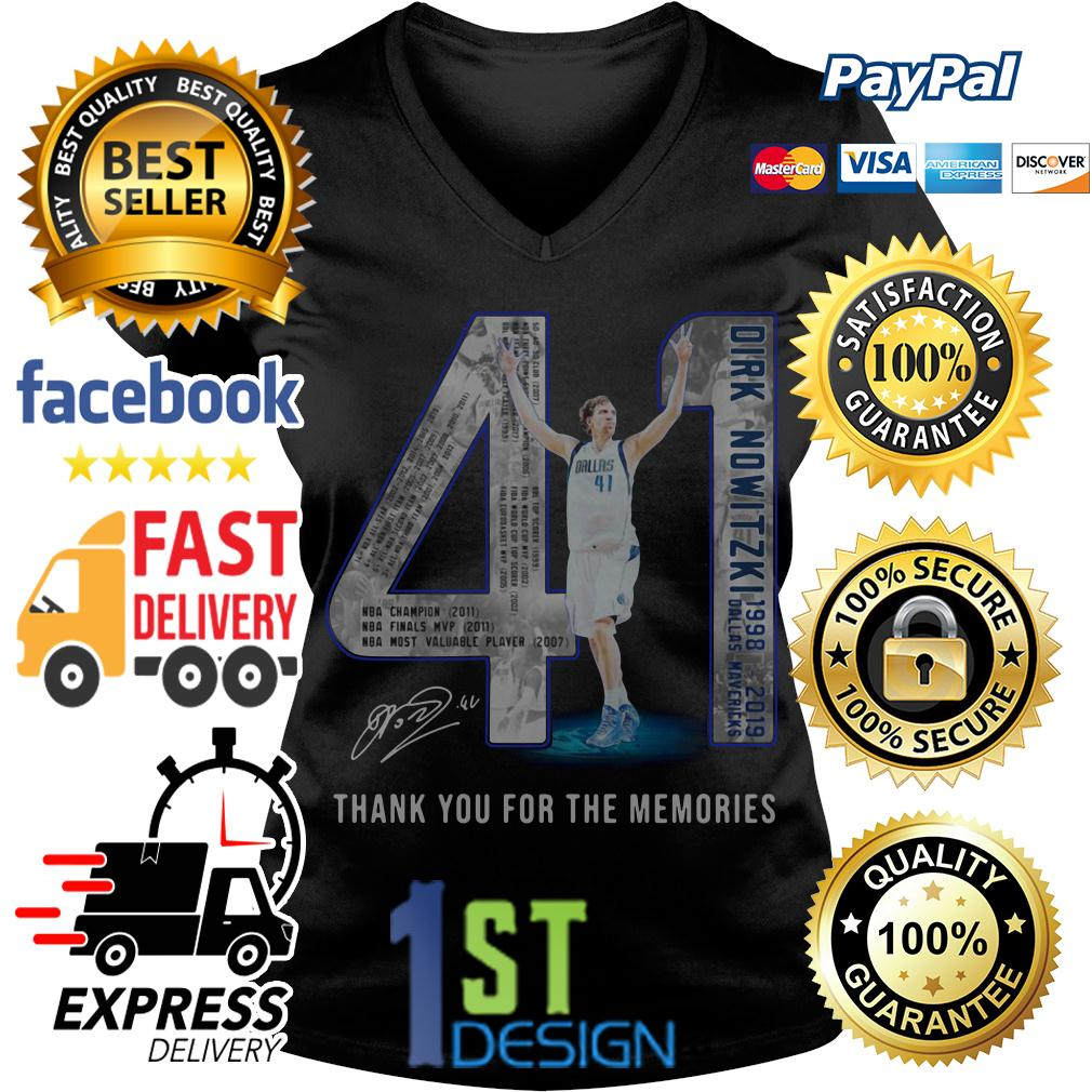 41 Dirk Nowitzki Jerseys signature 41 thank you for the memories V-neck T-shirt