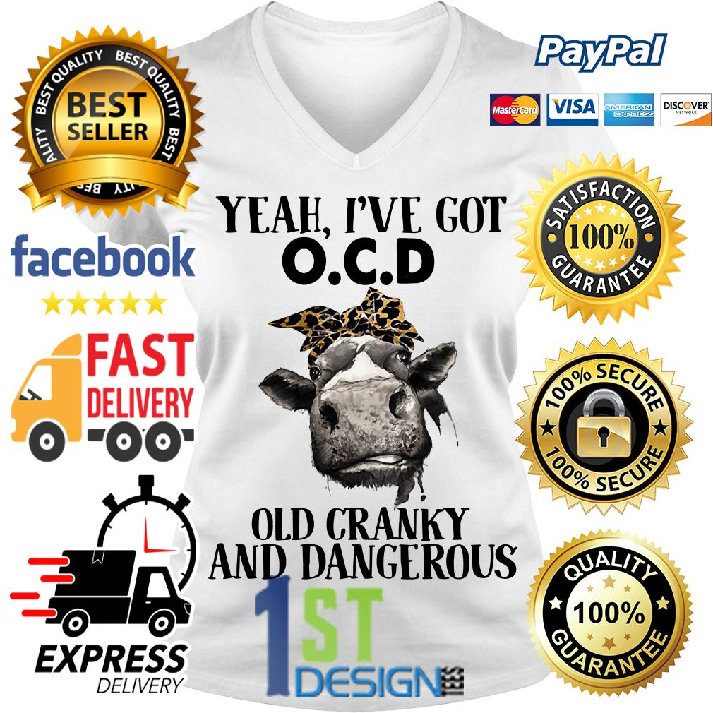 Bandana Cow yeah I've got OCD old cranky and dangerous V-neck T-shirt