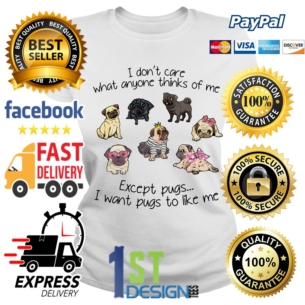 I don't care what anyone thinks of me except pugs I want pugs to like Ladies Tee