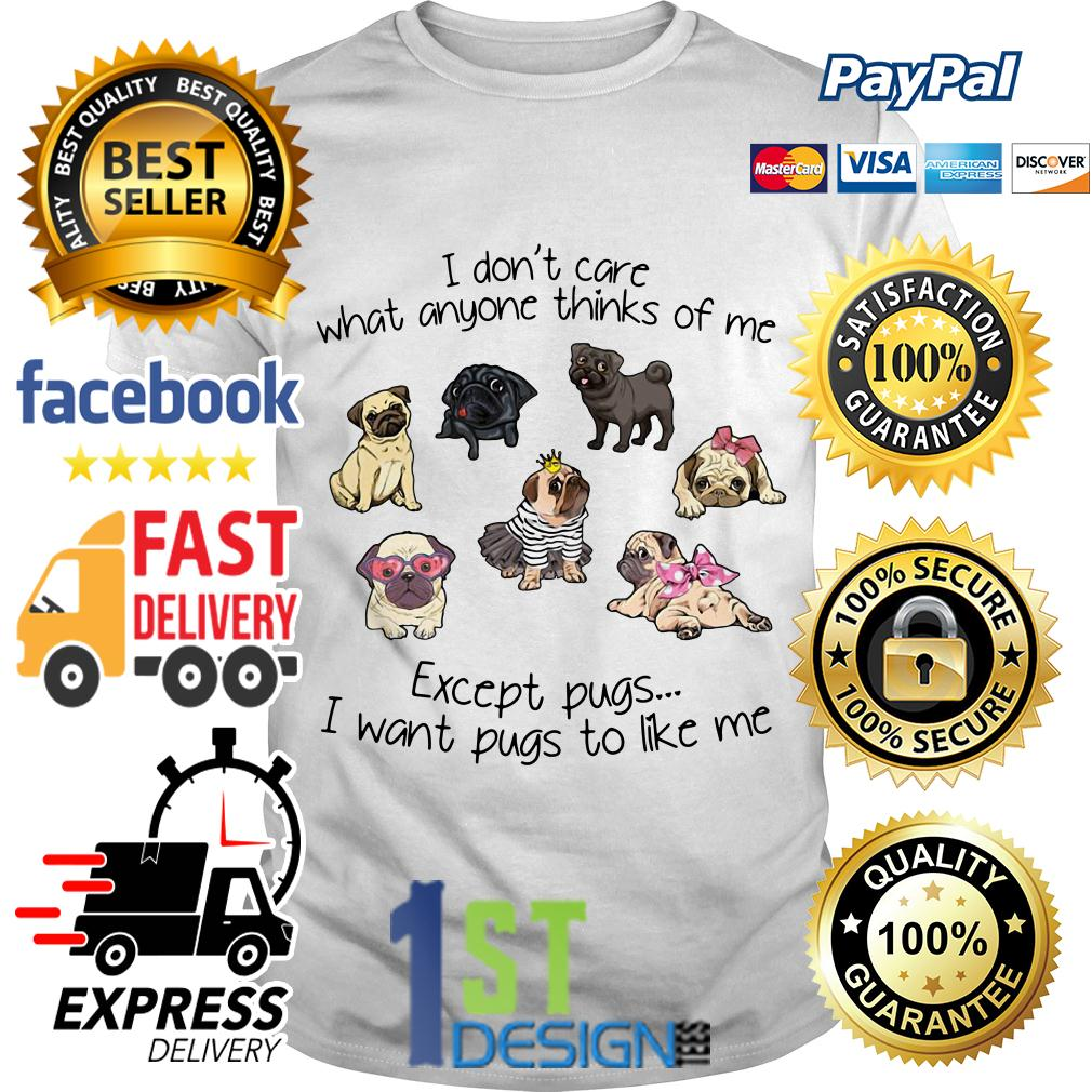 I don't care what anyone thinks of me except pugs I want pugs to like Shirt