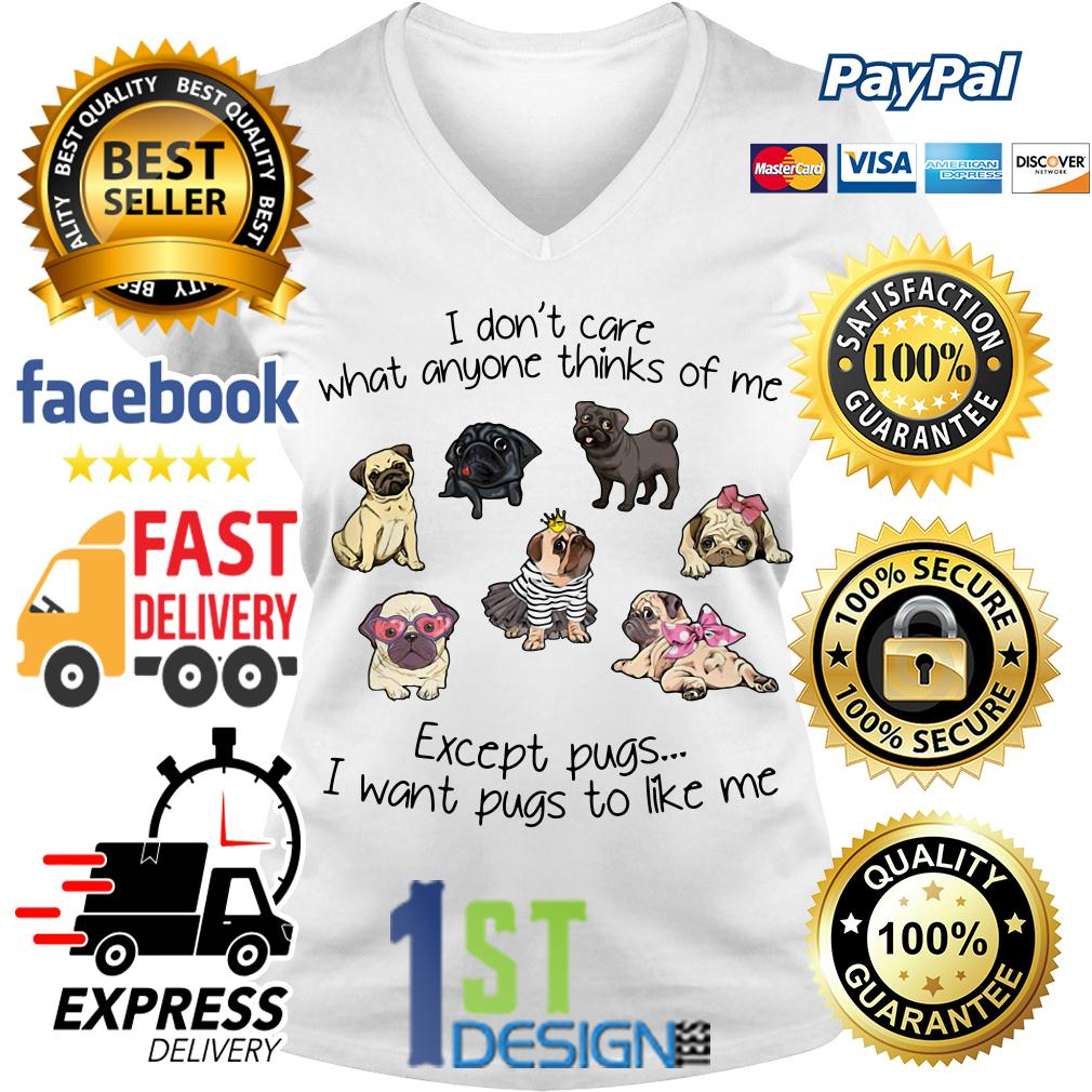 I don't care what anyone thinks of me except pugs I want pugs to like V-neck T-shirt