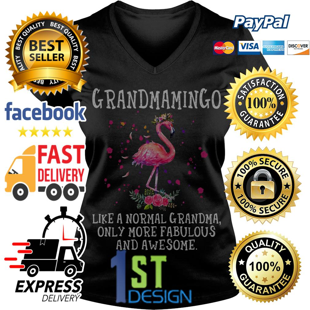 Flamingo grandmamingo like a normal grandma only more fabulous V-neck -T-shirt