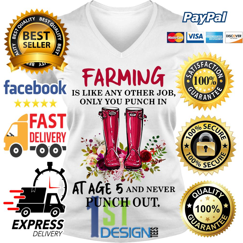 Floral farming is like any other job only you punch in at age 5 V-neck T-shirt