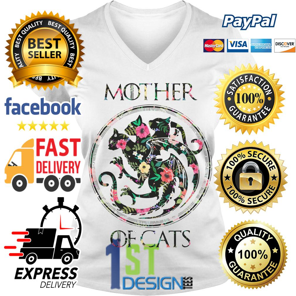 Floral Game of Thrones mother of cats V-neck T-shirt