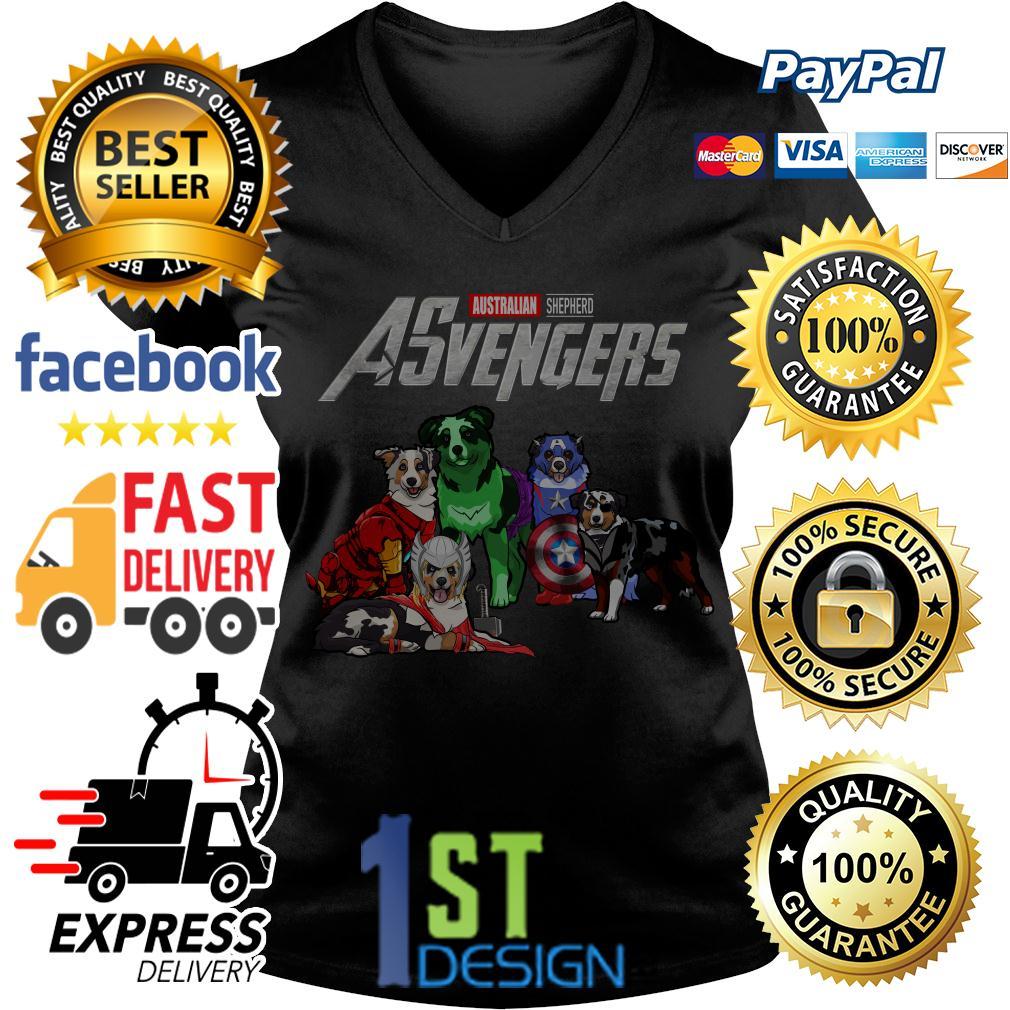 Marvel Avengers Endgame Australian Shepherd ASvengers V-neck T-shirt