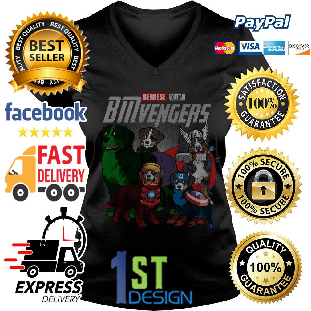 Marvel Bernese Mountain BMvengers Avengers V-neck T-shirt