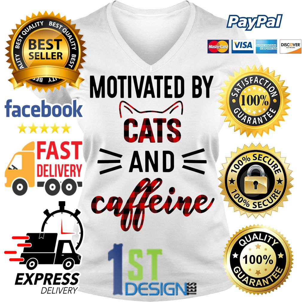 Motivated by cats and caffeine V-neck T-shirt