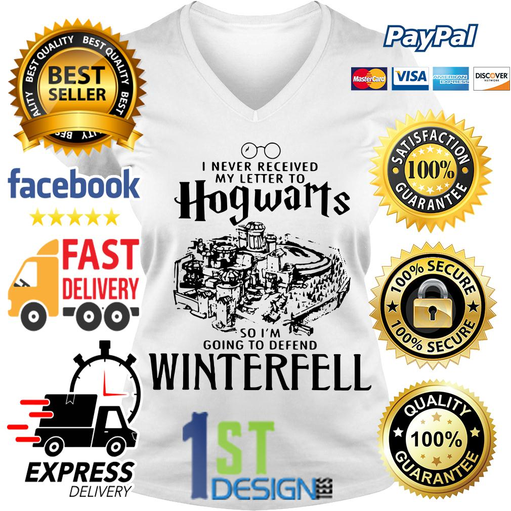 I never received my letter to Hogwarts so I'm going to defend winterfell V-neck T-shirt