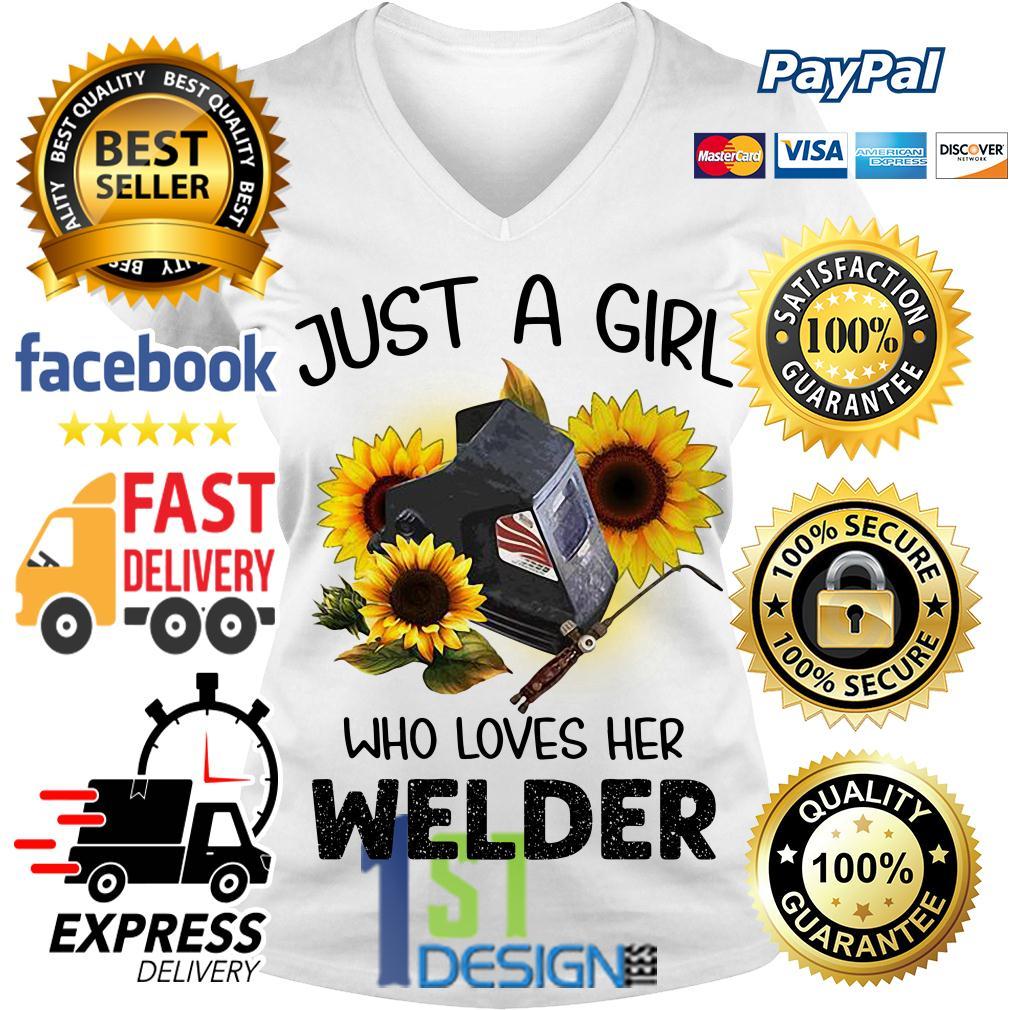 Sunflower just a girl who loves her welder V-neck T-shirt