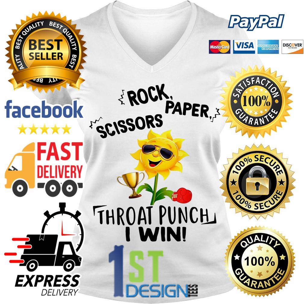 Sunflower rock paper scissors throat punch I win V-neck T-shirt