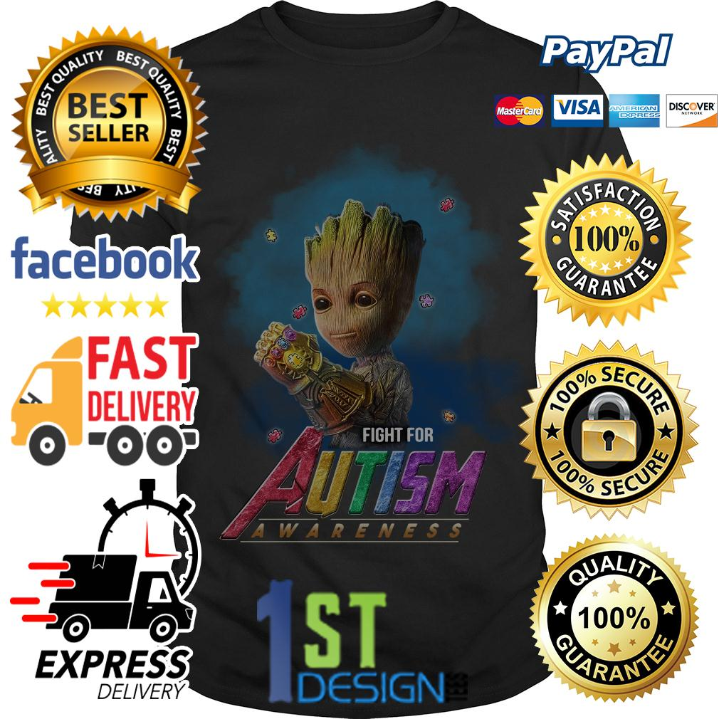 Baby Groot Infinity Gauntlet fight for autism awareness shirt