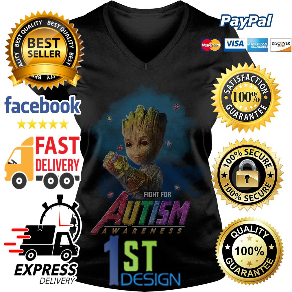 Baby Groot Infinity Gauntlet fight for autism awareness V-neck T-shirt