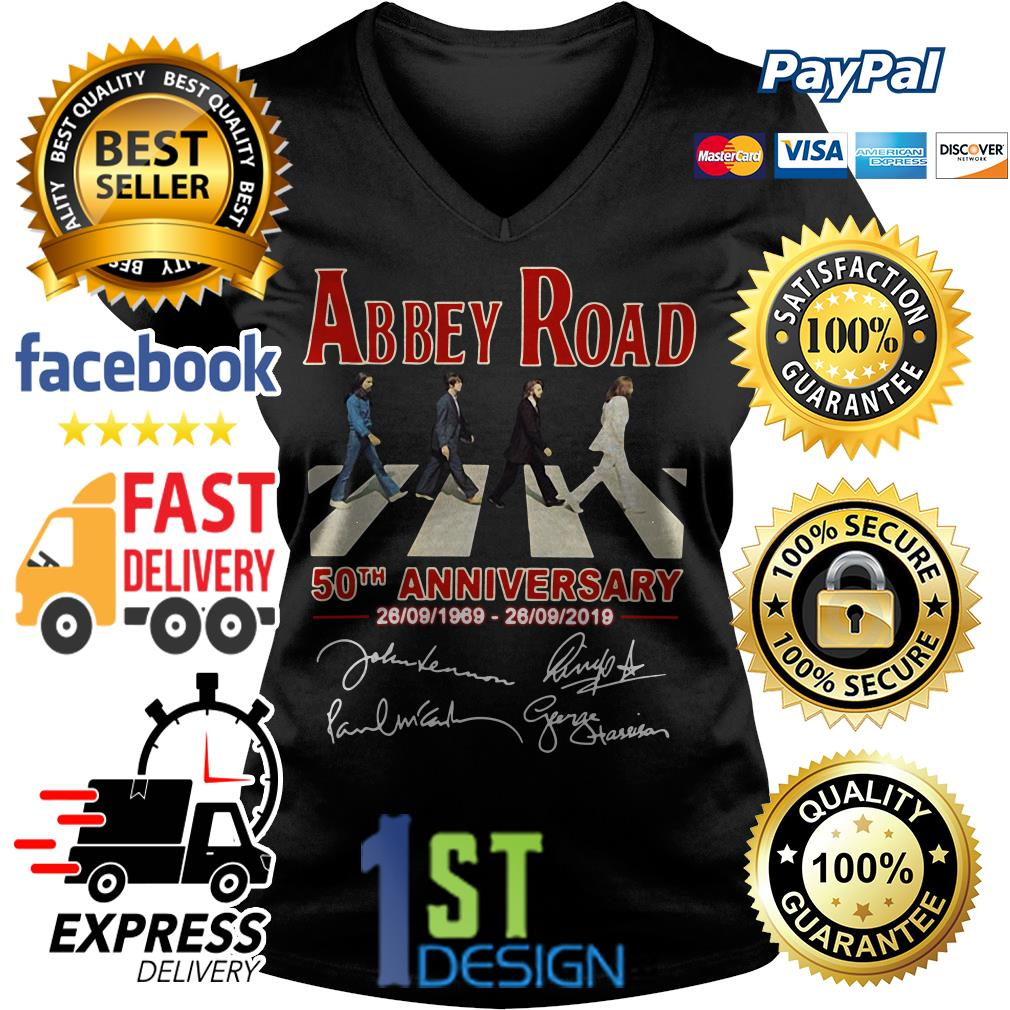 The Beatles Abbey Road 50th anniversary signatures shirt