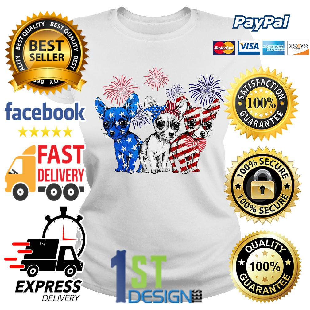 Chihuahua Fireworks blue white and red American Flag Ladies Tee