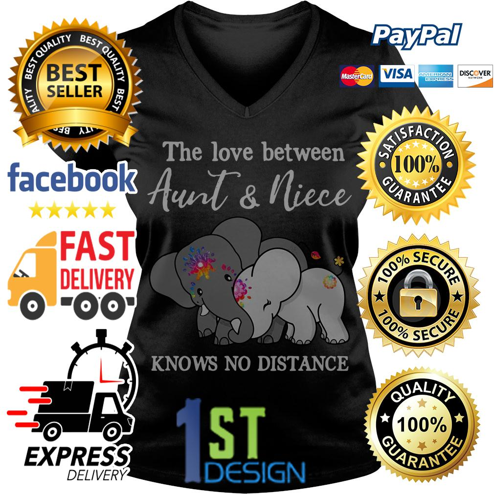 Elephant the love between aunt and niece knows no distance V-neck T-shirt