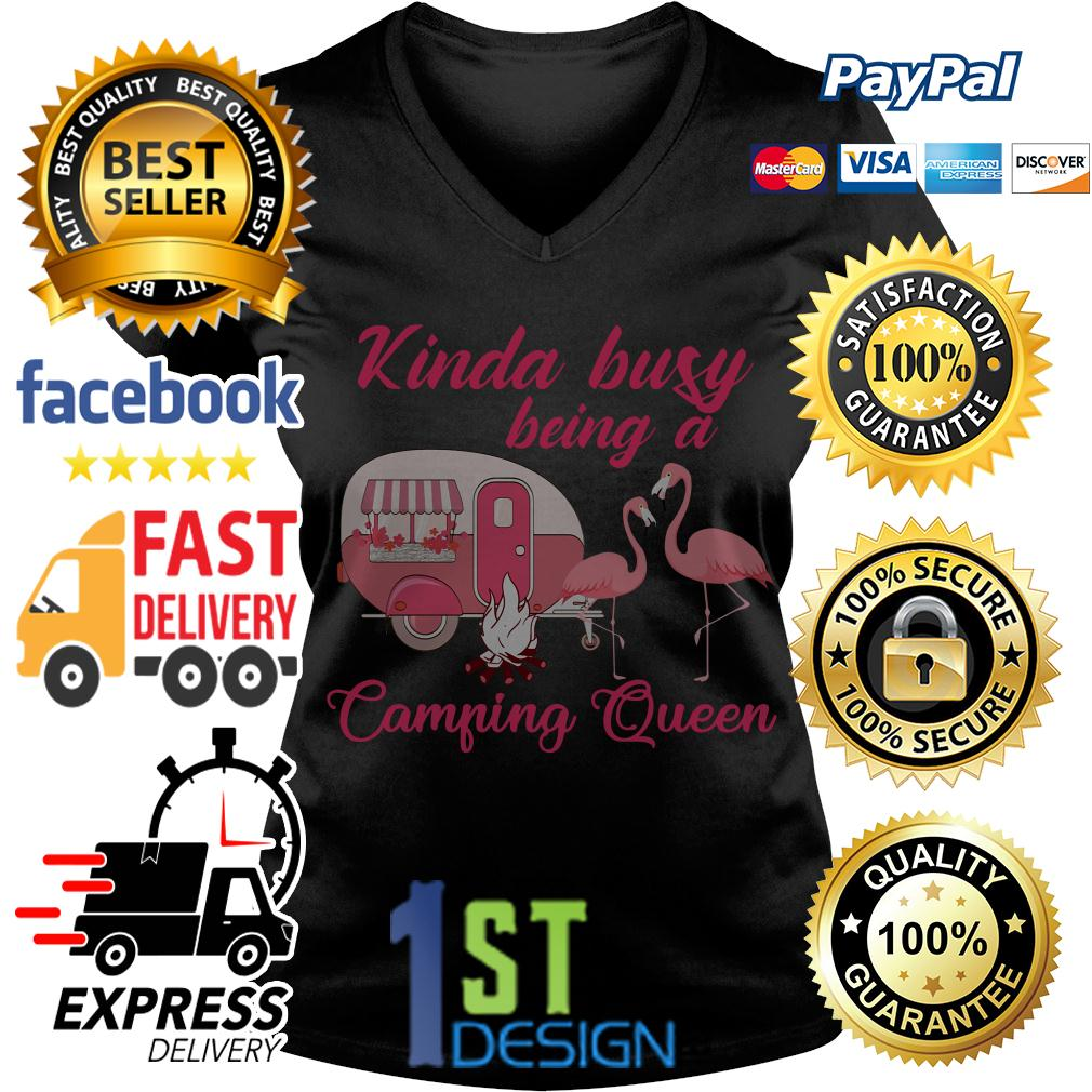 Flamingo kinda busy being a camping queen V-neck T-shirt