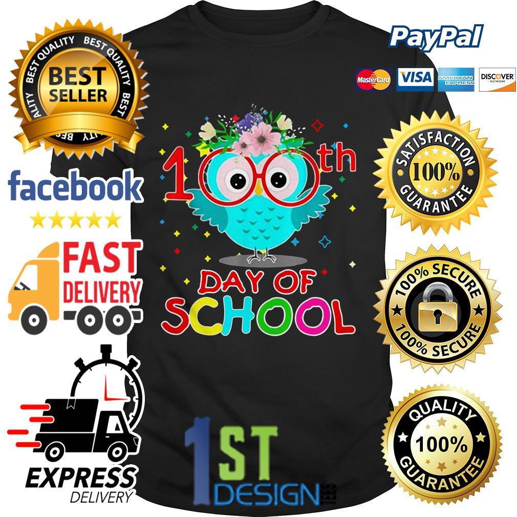 Flower Owl 100th day of school shirt