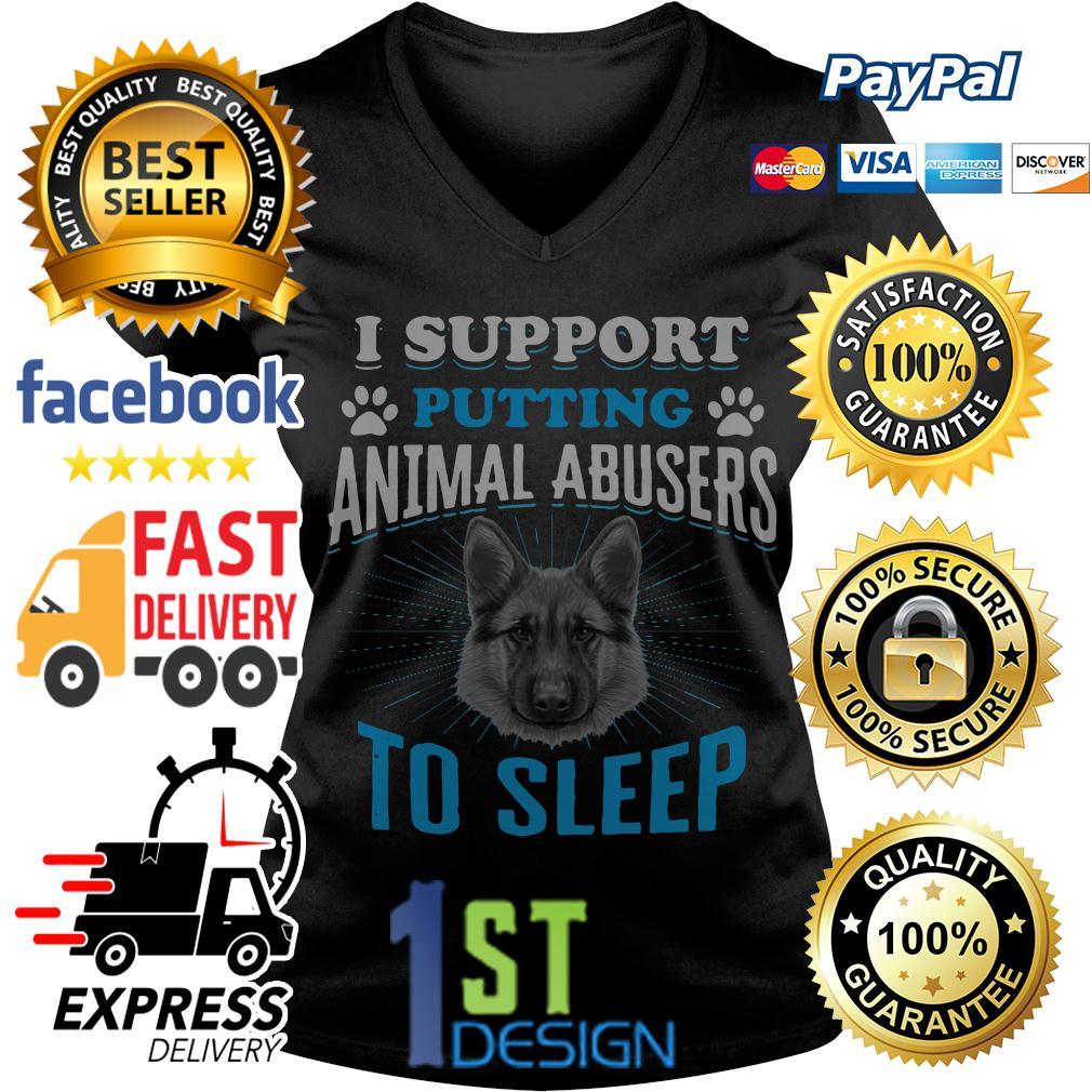 German Shepherd I support putting animal abusers to sleep V-neck T-shirt