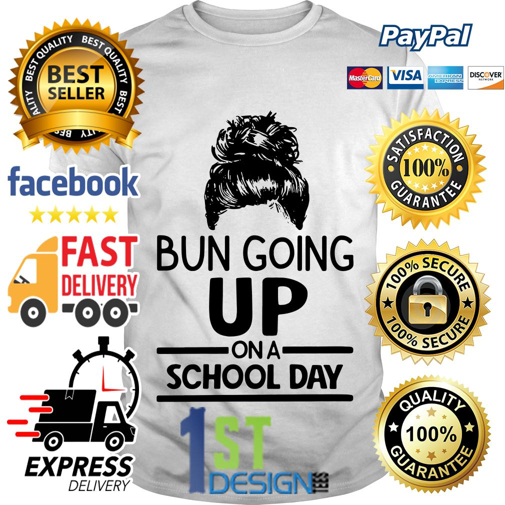 Hairstyle bun going up on a school day shirt