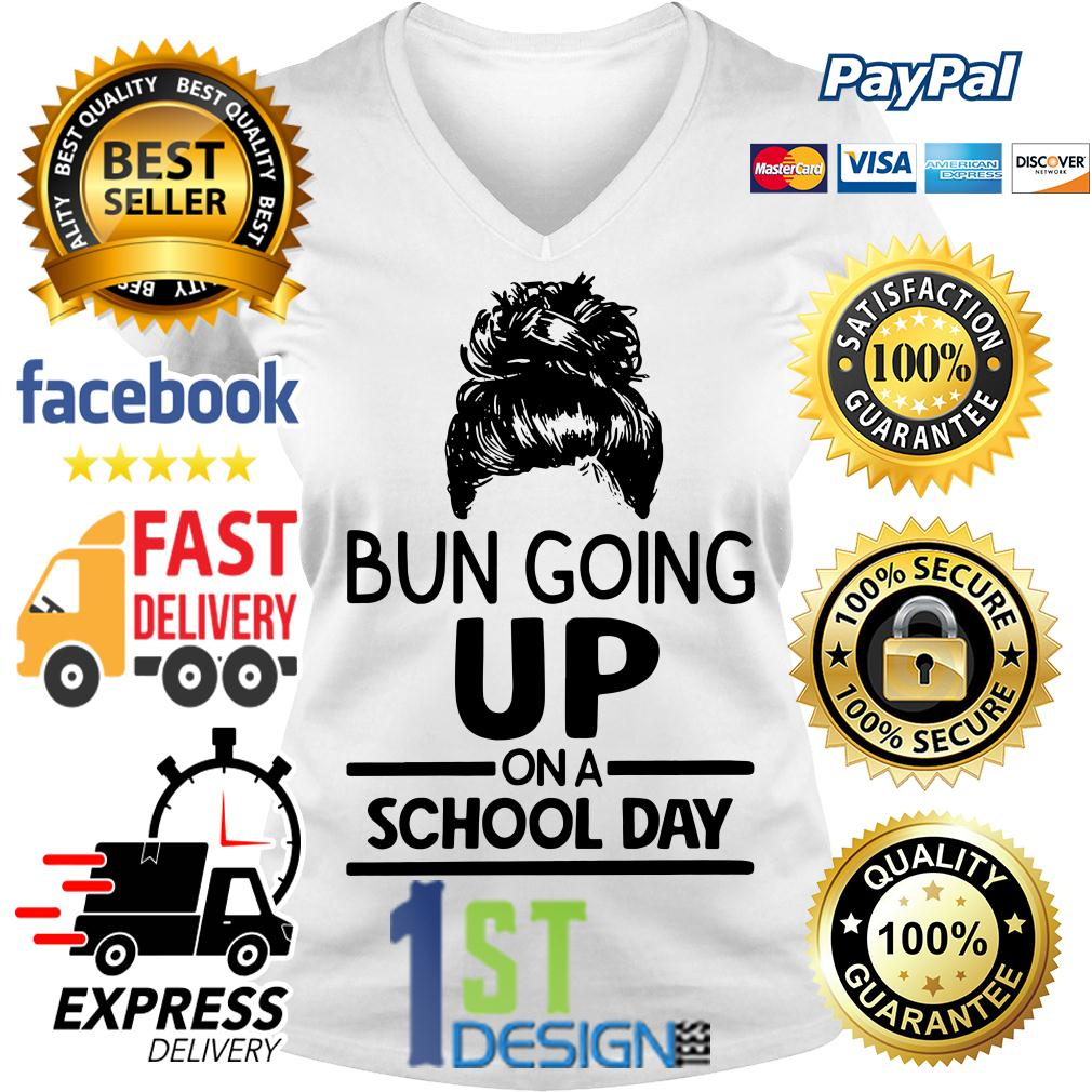 Hairstyle bun going up on a school day V-neck T-shirt