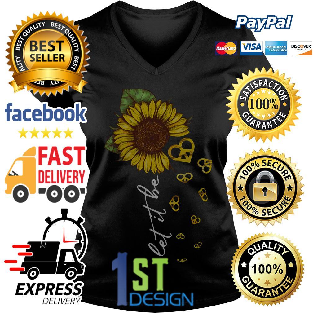 Hippie heart sunflower let it be V-neck T-shirt