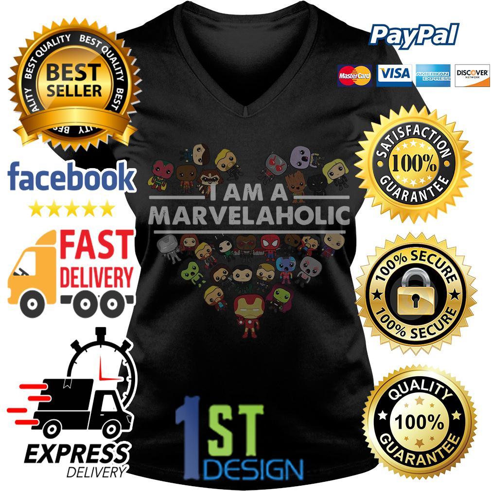I am a Marvelaholic Marvel aholic Avengers V-neck T-shirt