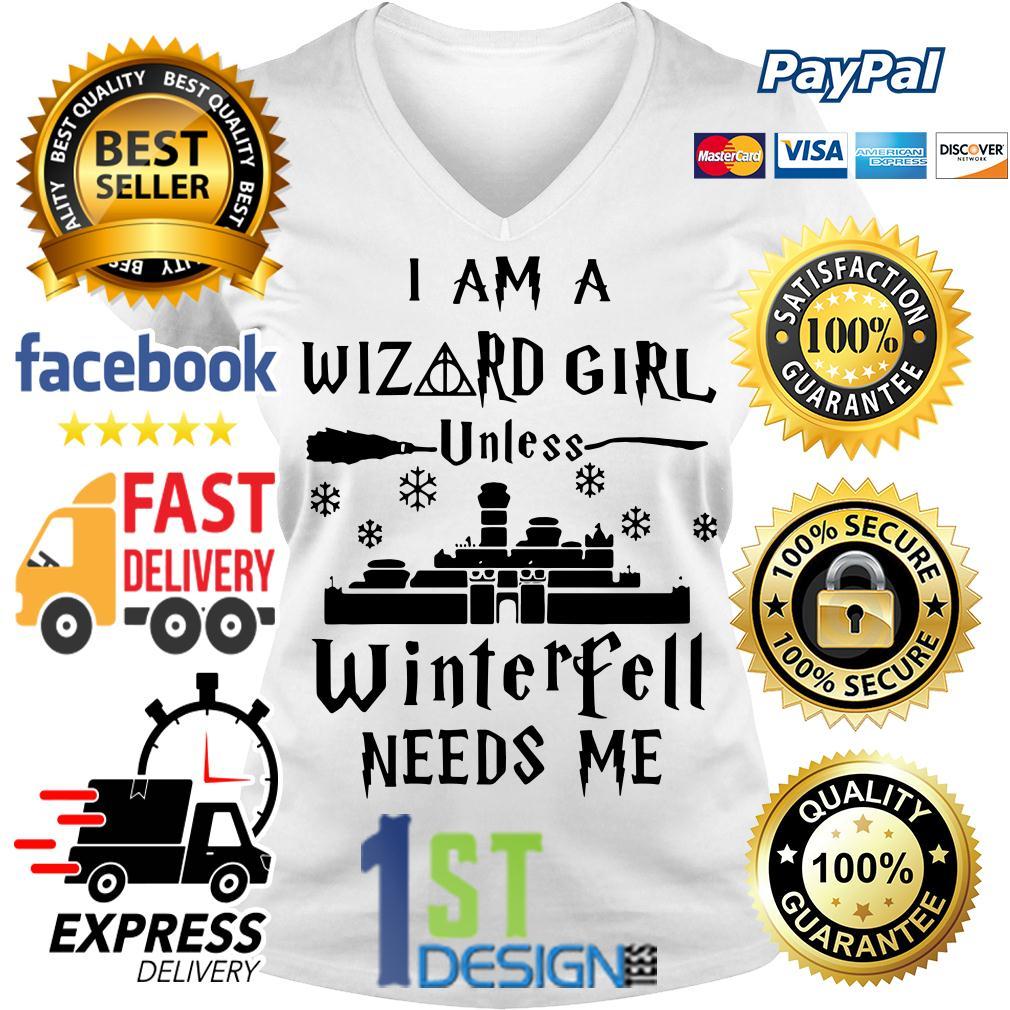 I am a Wizard girl unless Winterfell needs me V-neck T-shirt