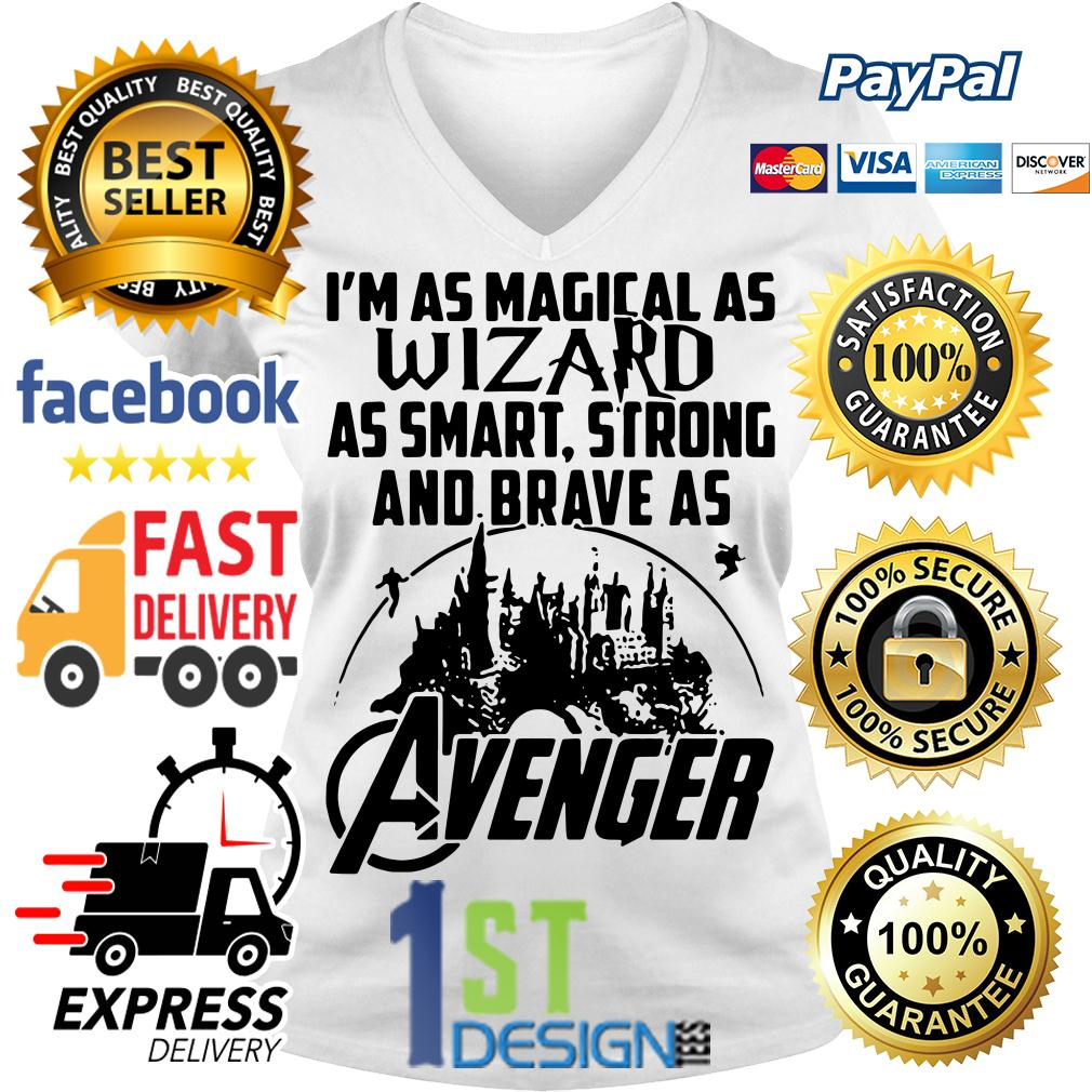 I'm as magic as Wizard as smart strong and brave as Avenger V-neck T-shirt