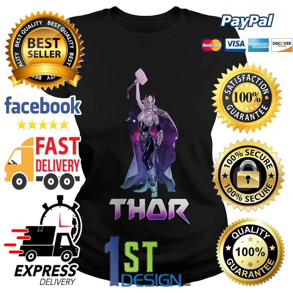 Marvel Female Thor Celestial Hammer in air Ladies Tee