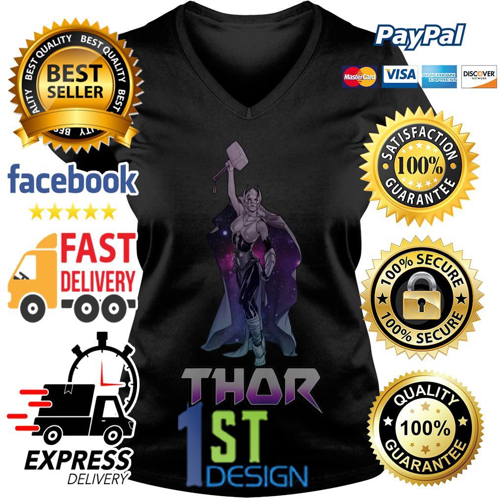 Marvel Female Thor Celestial Hammer in air V-neck T-shirt