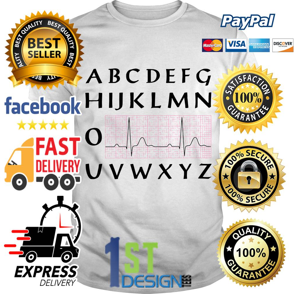PQRST nurse heartbeat alphabet shirt