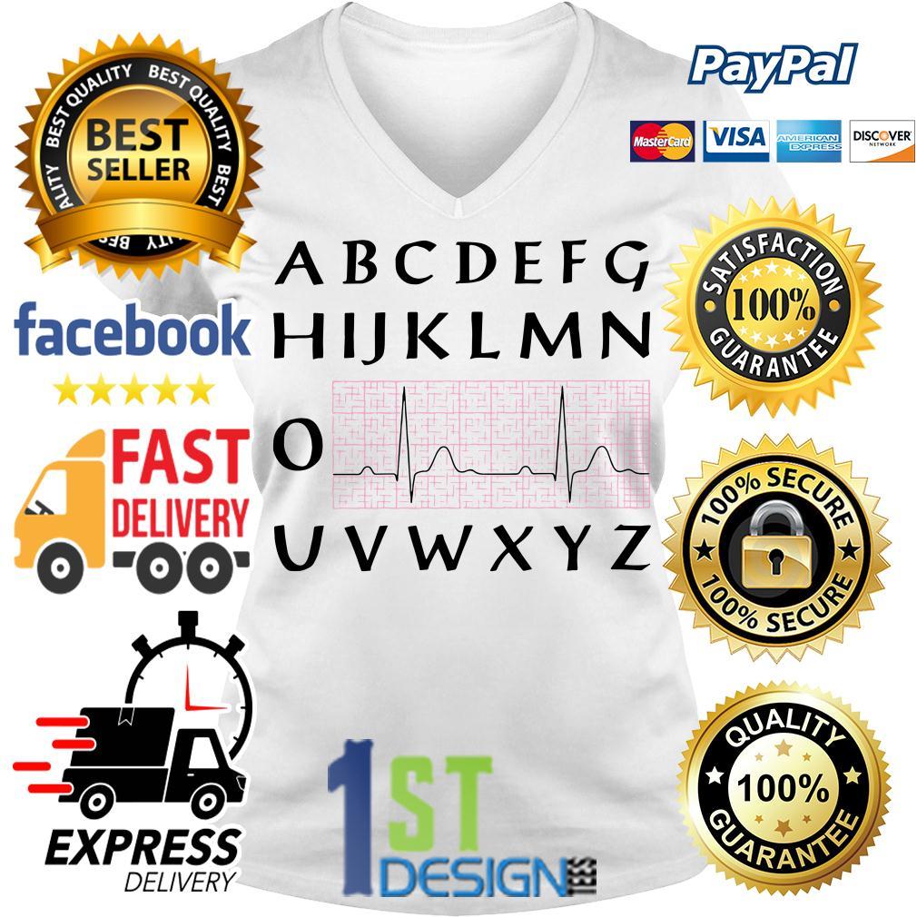 PQRST nurse heartbeat alphabet V-neck T-shirt