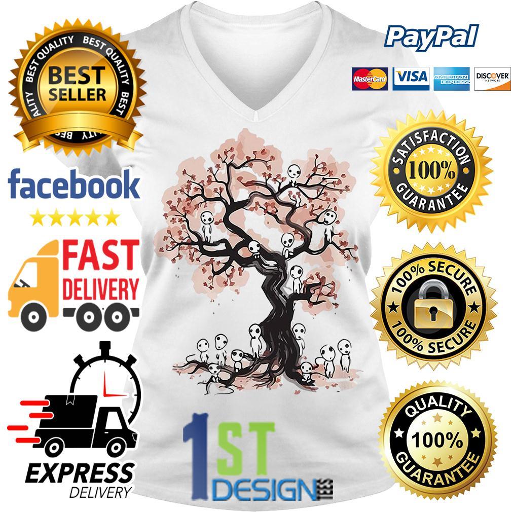 Princess Mononoke forest spirit Sumi E V-neck T-shirt