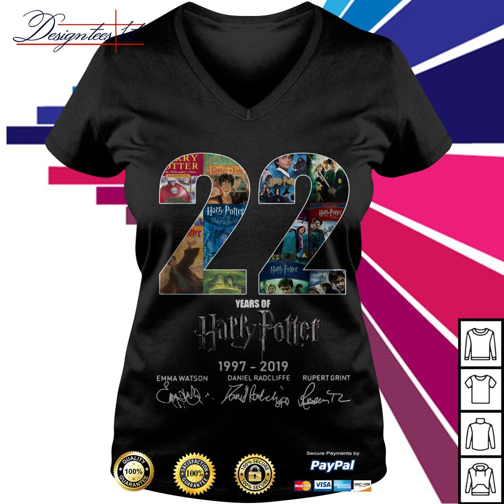 22 year of Harry Potter 1997-2019 signature V-neck T-shirt