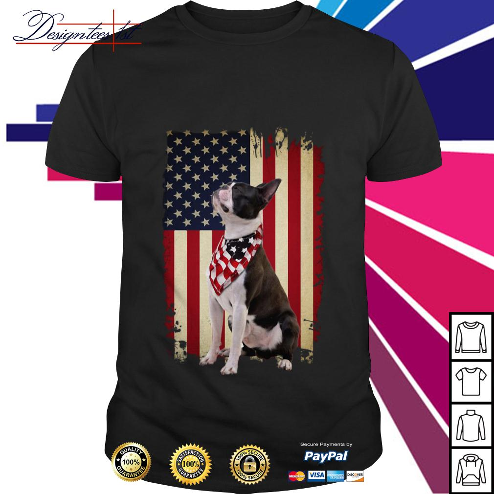 4th July Independence day Boston Terrier American Flag shirt