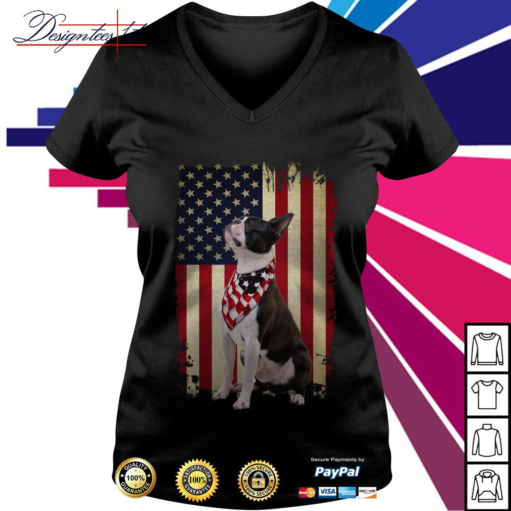 4th July Independence day Boston Terrier American Flag V-neck T-shirt