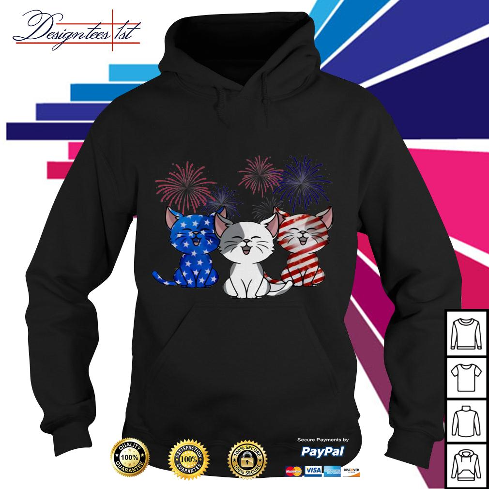 4th July Independence day Cat American Flag Hoodie