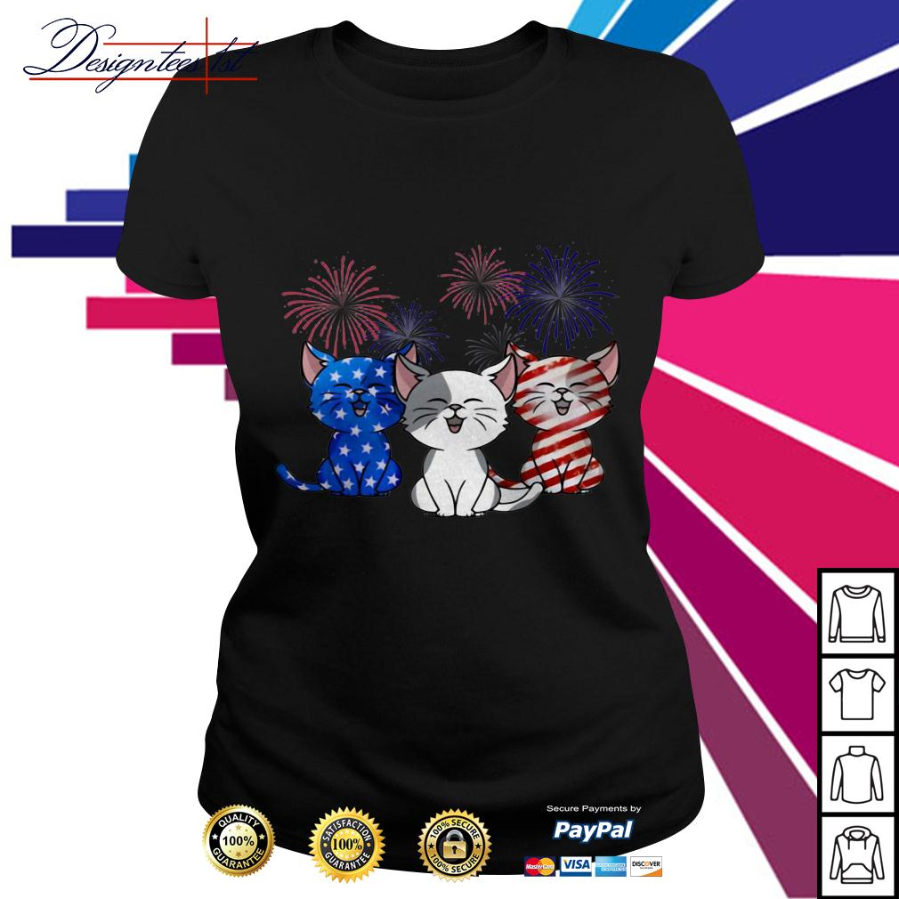 4th July Independence day Cat American Flag Ladies Tee