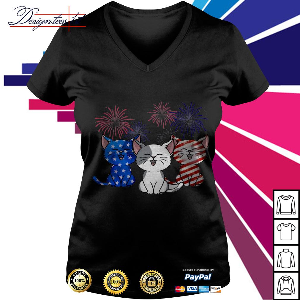 4th July Independence day Cat American Flag V-neck T-shirt