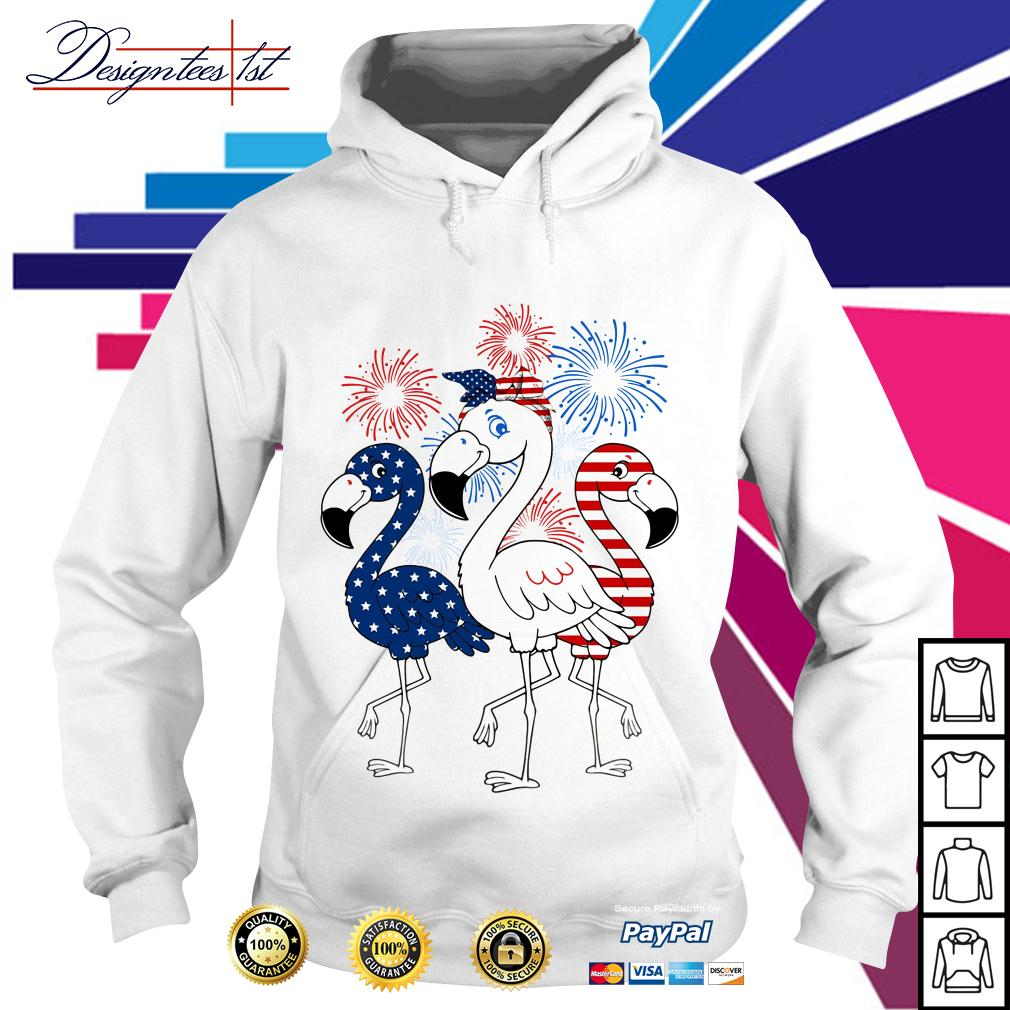 4th of July independence day Flamingos blue white and red Hoodie