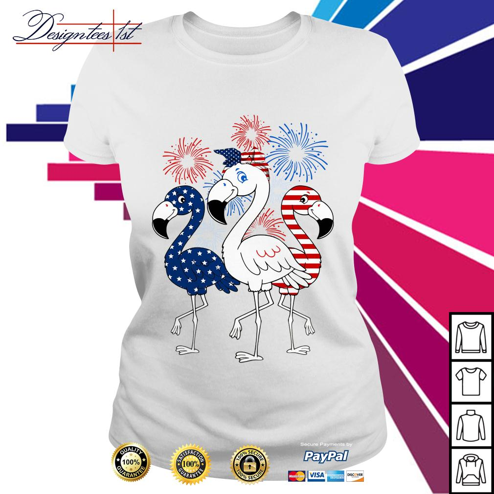 4th of July independence day Flamingos blue white and red shirt